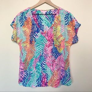 Lilly Pulitzer Asher Silk Top in Electric Feel